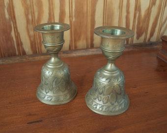 Vintage Candlestick Holder & Brass Bells Of SARNA, INDIA 218A – Hand Etched