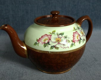 Vintage Sadler Staffordshire England Ceramic Teapot - Brown and Green with Floral Pattern