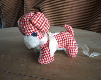 Vintage Houndstooth Puppy Dog Stuffed Animal with Red and White Gingham Fabric by Beloved Toys