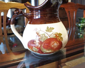 Vintage McCoy 7515 USA Pottery Pitcher with Fruit Pattern