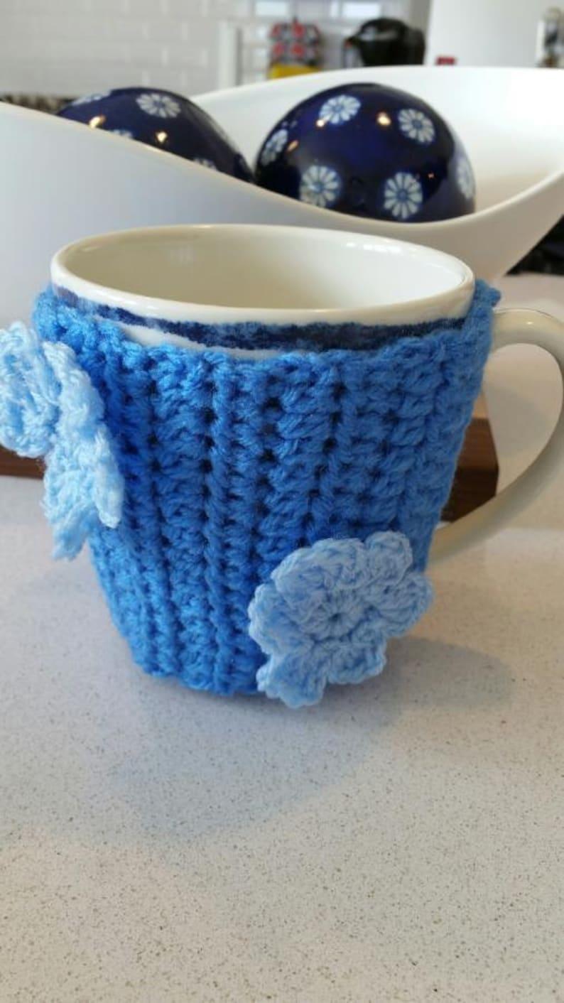 Handmade Blue Coffee Cozy With Flowers // Crocheted  Coffee image 0