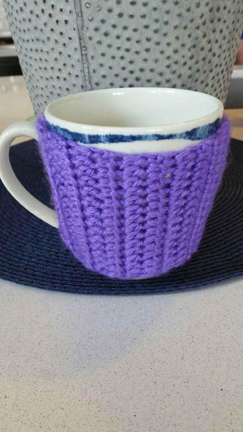 Handmade Purple Coffee Cozy // Crochet // Gift For Her // Home image 0
