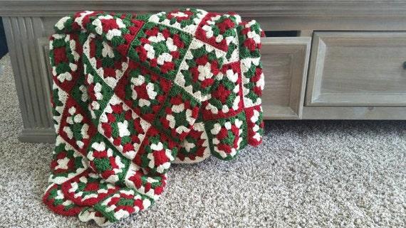Crochet Christmas Blanket Christmas Afghan X Mas Blanket Etsy