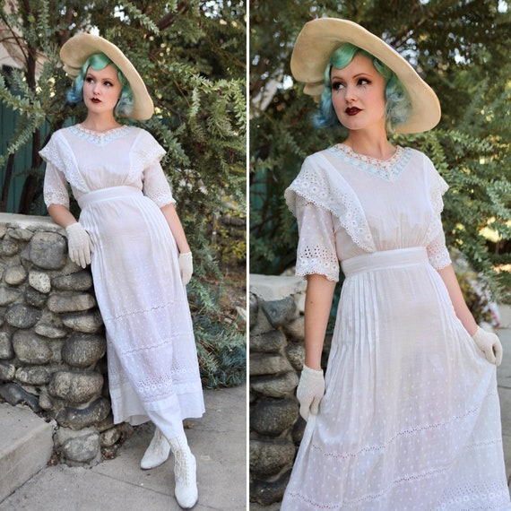 Antique 1900s Edwardian Lawn Dress | Size Small