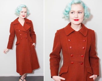 1960's Mod Rust Wool Double Breasted Coat | Size XS