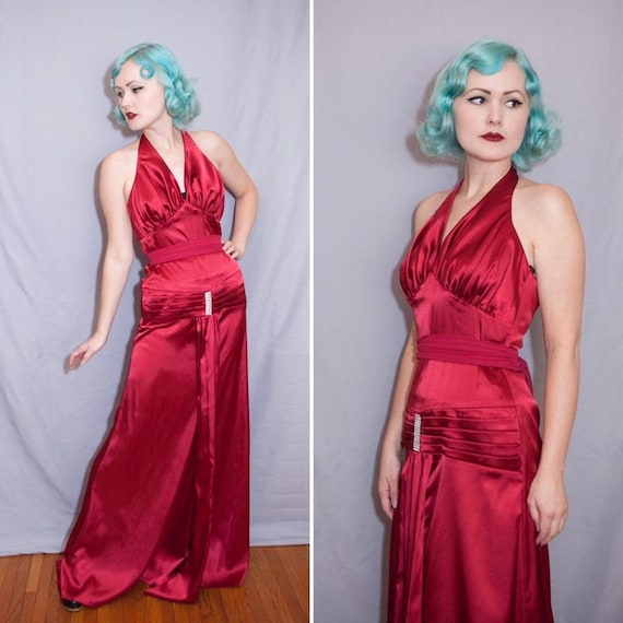 30's Style Raspberry Red Satin Hollywood Starlet D