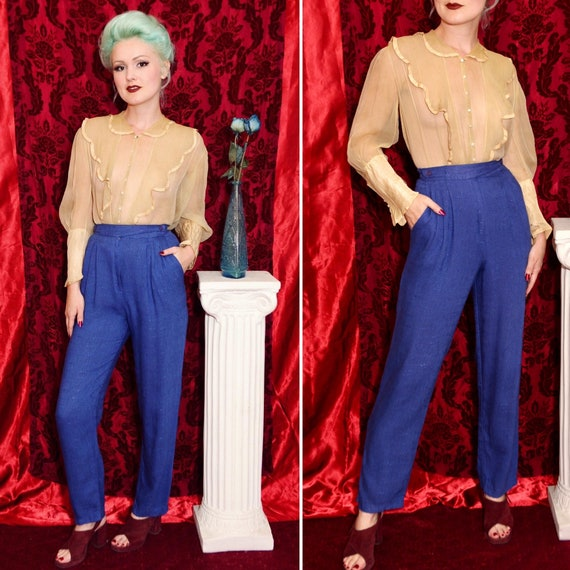 80's does 50's Style Electric Blue High Waisted Pl