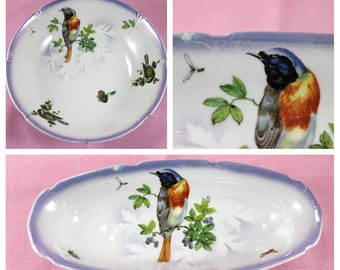 Leuchtenburg Germany Celery Dish and Serving Bowl, Bird Pattern, Vintage from 1930s