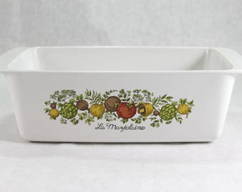 Corning Ware Spice of Life Loaf Pan, La Marjolaine, P-315,  2 QT, 9 x 5 x 3,  Vintage from the 1970s