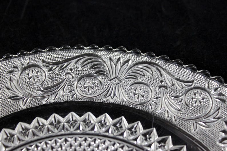 Vintage from 1920s Crimped Edge Duncan Miller Torte Plate Clear Sandwich Pattern