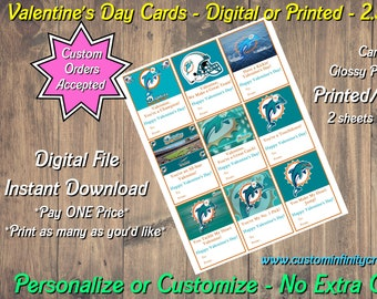 Miami Dolphins Football Digital Valentines Day Cards 2.5x3.5