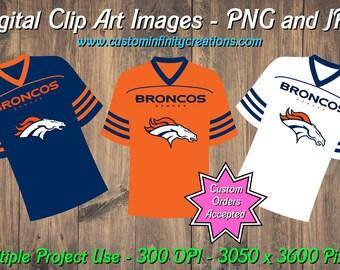 Denver Broncos Football Team Jerseys Digital Clip Art Images Set  1 9f7d4c011