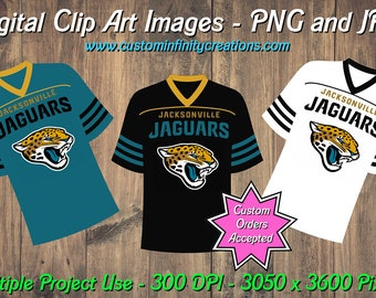 Jacksonville Jaguars Football Team Jerseys Digital Clip Art Images Set  1 7327e877b