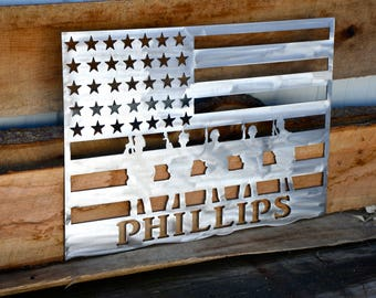 Personalized American Flag with Soldiers