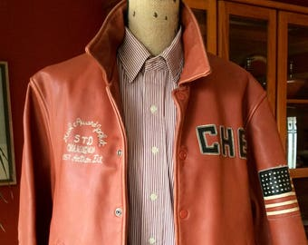 CHEVIGNON Vintage Saddle (Tan) Leather Jacket for a Short/Small Man or Woman- small