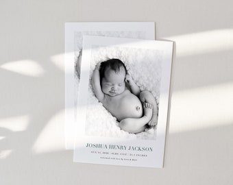 Modern Minimalist Clean Birth Announcement Template Baby Birth Announcement Card INSTANT DOWNLOAD Photo DIY Editable Printable Templett
