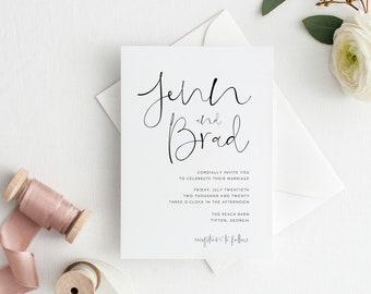 calligraphy wedding invitation etsy