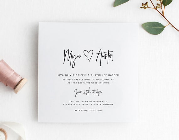 Printable Wedding Invitation Set Modern Wedding Invitations Wedding Invites Wedding Invitation Template Simple Calligraphy Cs12