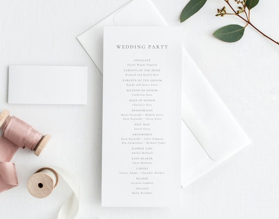 Printable Wedding Programs Order of Events Printable Wedding Ceremony Program Double Sided Printable Wedding Program Template AC19
