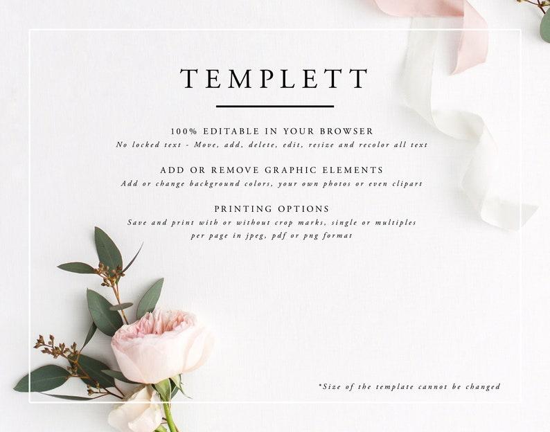 Wedding Place Cards Printable Escort Cards Simple Printable Place Card Template Calligraphy Place Cards Editable Templett MS06