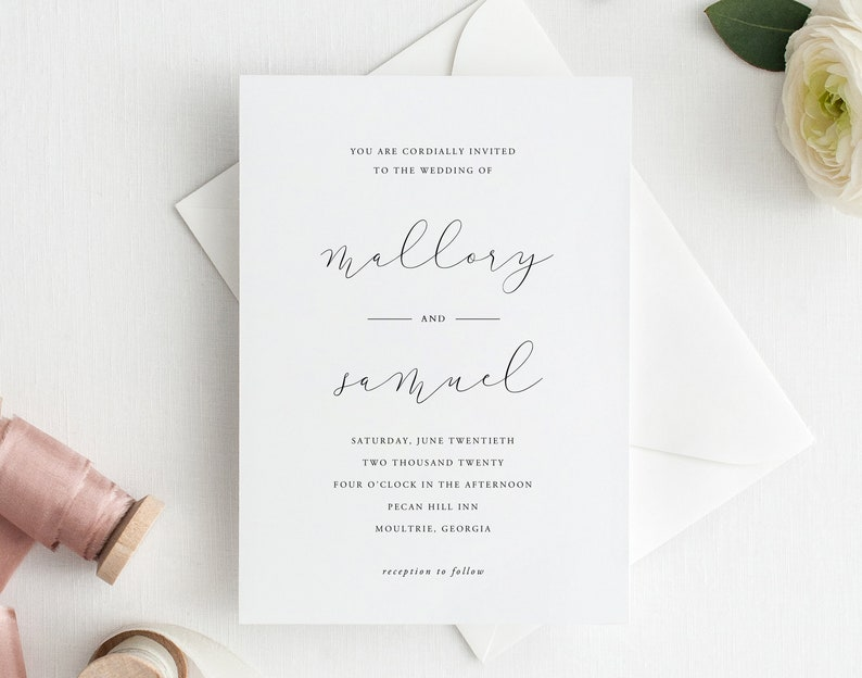 Botanical AS19 Templett Wedding Invitations Simple Wedding Invitation Template Printable Wedding Invitations Wedding Invites