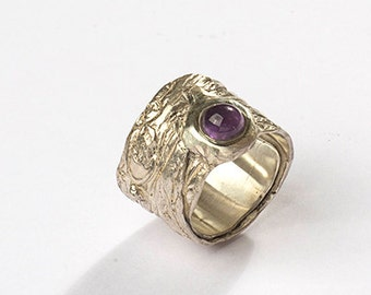 Handmade sterling silver ring with Amethyst