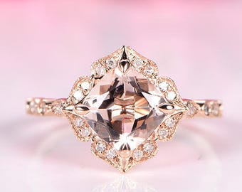 Natural morganite engagement ring 7mm cushion cut morganite ring floral diamond halo diamond wedding band solid 14k rose gold stacking ring