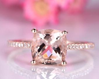 Big morganite engagement ring 8mm cushion cut morganite ring delicate diamond wedding band 14k rose gold promise ring solitaire ring