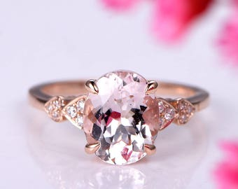 Morganite engagement ring 8x10mm oval cut morganite ring solitaire ring diamond wedding band solid 14k rose gold bridal ring promise ring