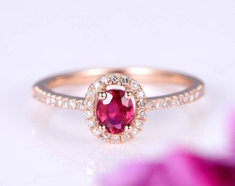 ca2023abbaa368 Ruby ring 4x5mm oval cut ruby engagement ring gemstone bridal ring natural  gem stone SI-H diamond halo band stacking ring 14k rose gold
