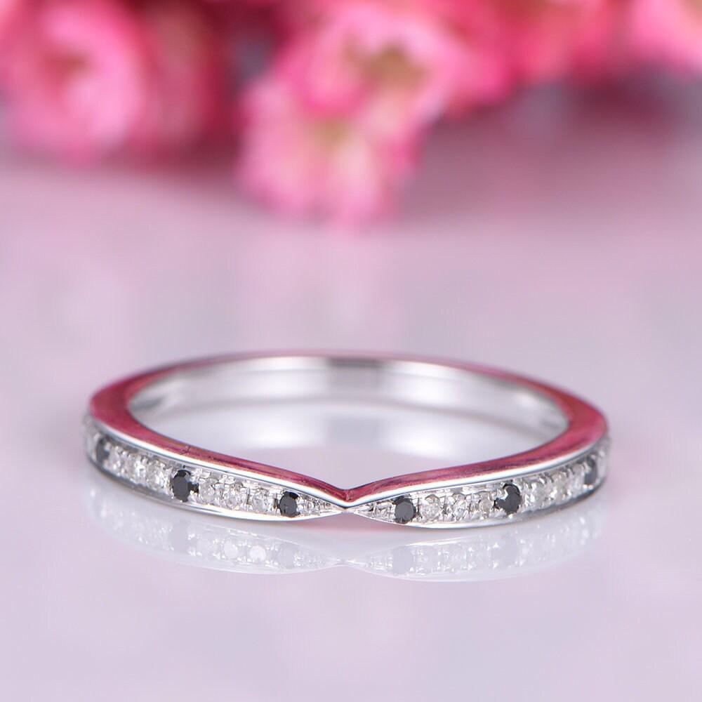Black diamond wedding band white gold half eternity ring | Etsy