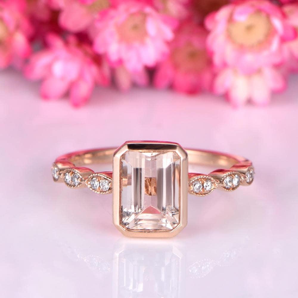 Bezel set morganite engagement ring 6x8mm emerald cut | Etsy