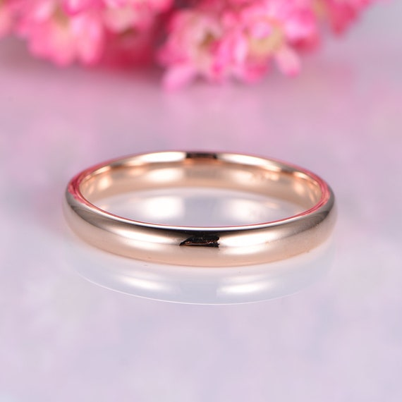 Solid 14k Yellow Gold Wedding Band Plain Gold Ring 3mm Width Tranditional Classic Promise Ring Simple Band Men S Ring