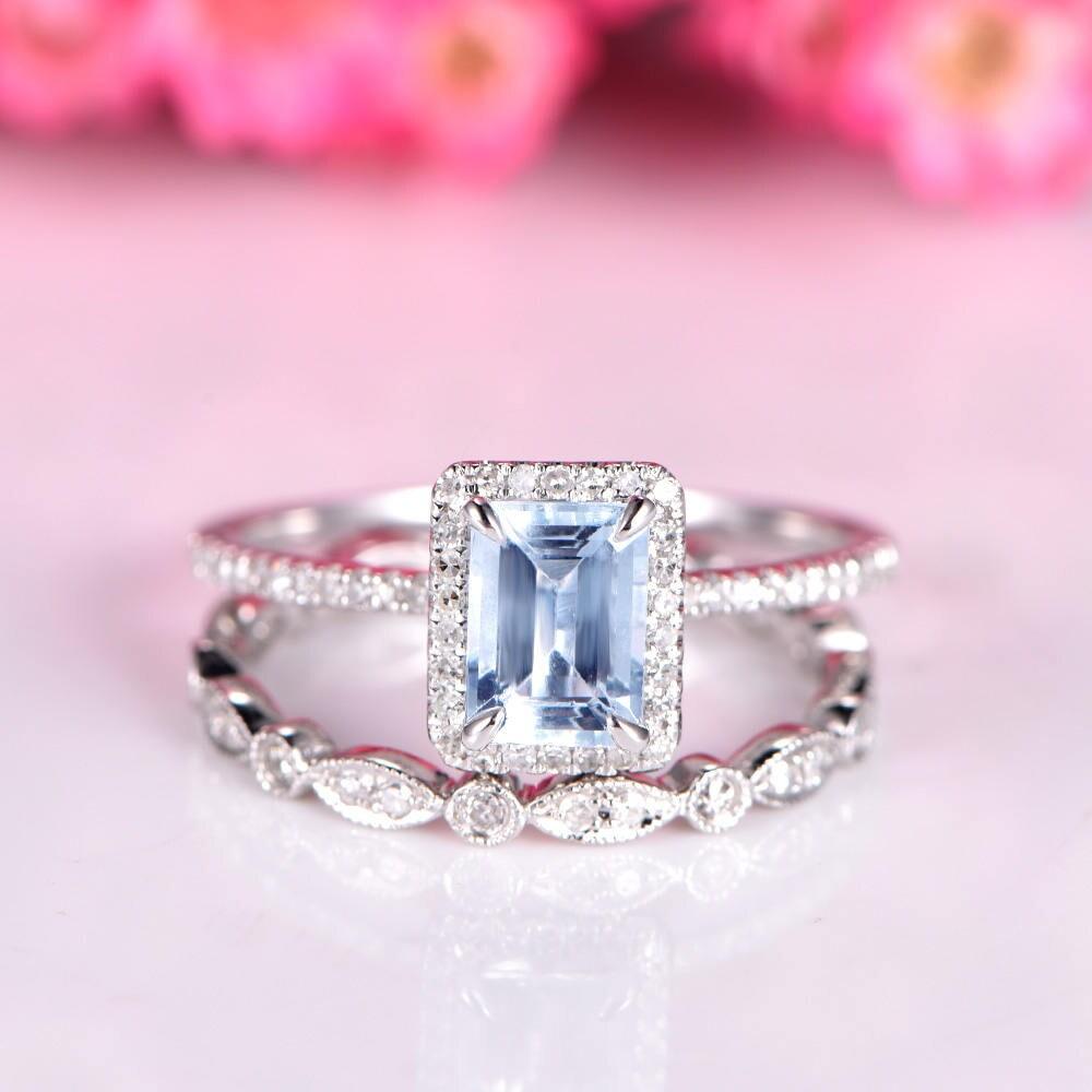 Aquamarine ring set aquamarine engagement ring 5x7mm natural | Etsy