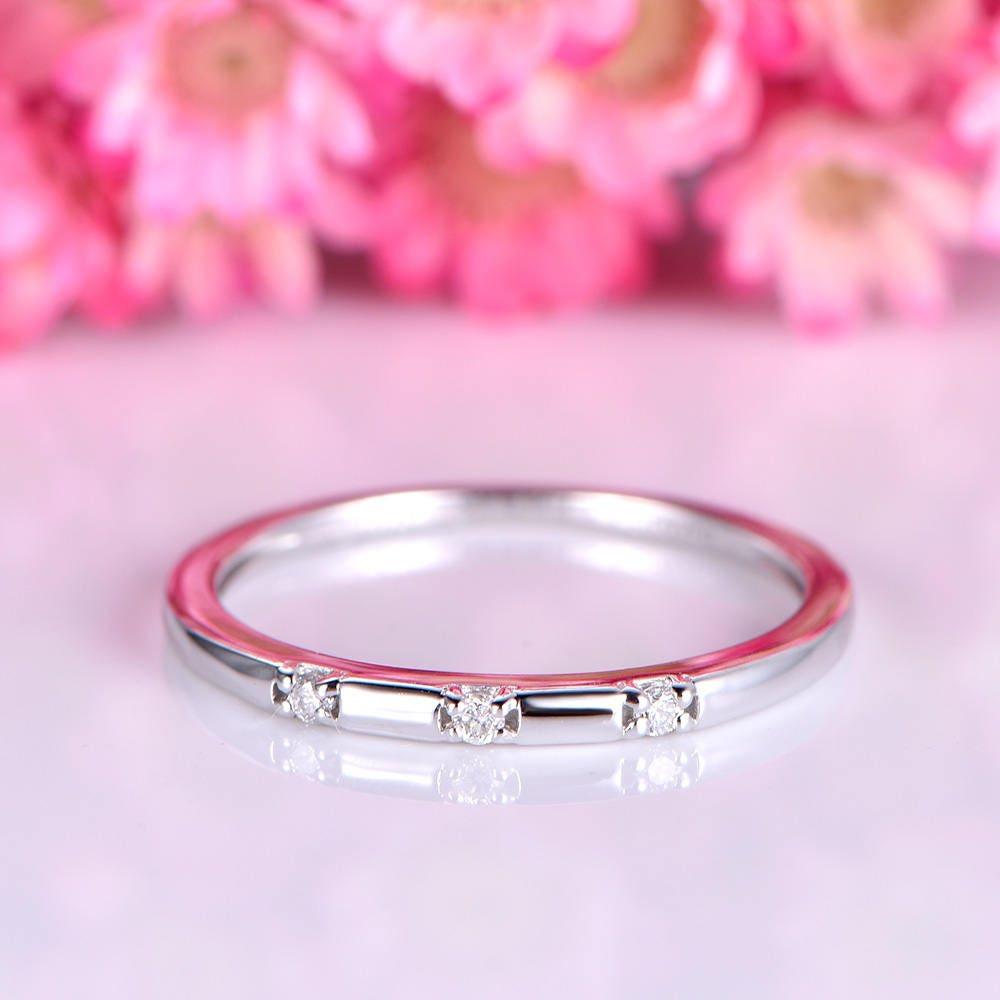 Simple diamond wedding band 3pcs natural SI-H full cut diamond | Etsy