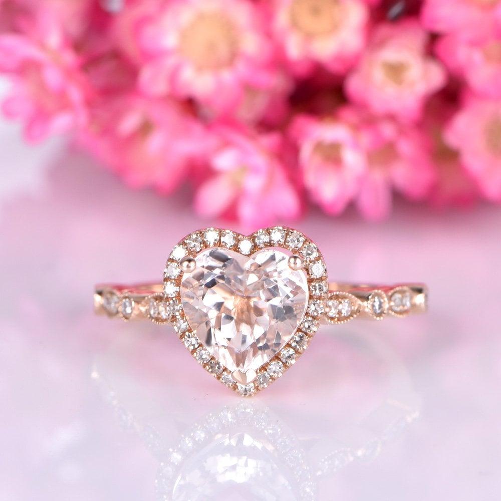 Morganite engagement ring 14k rose gold morganite ring 8mm