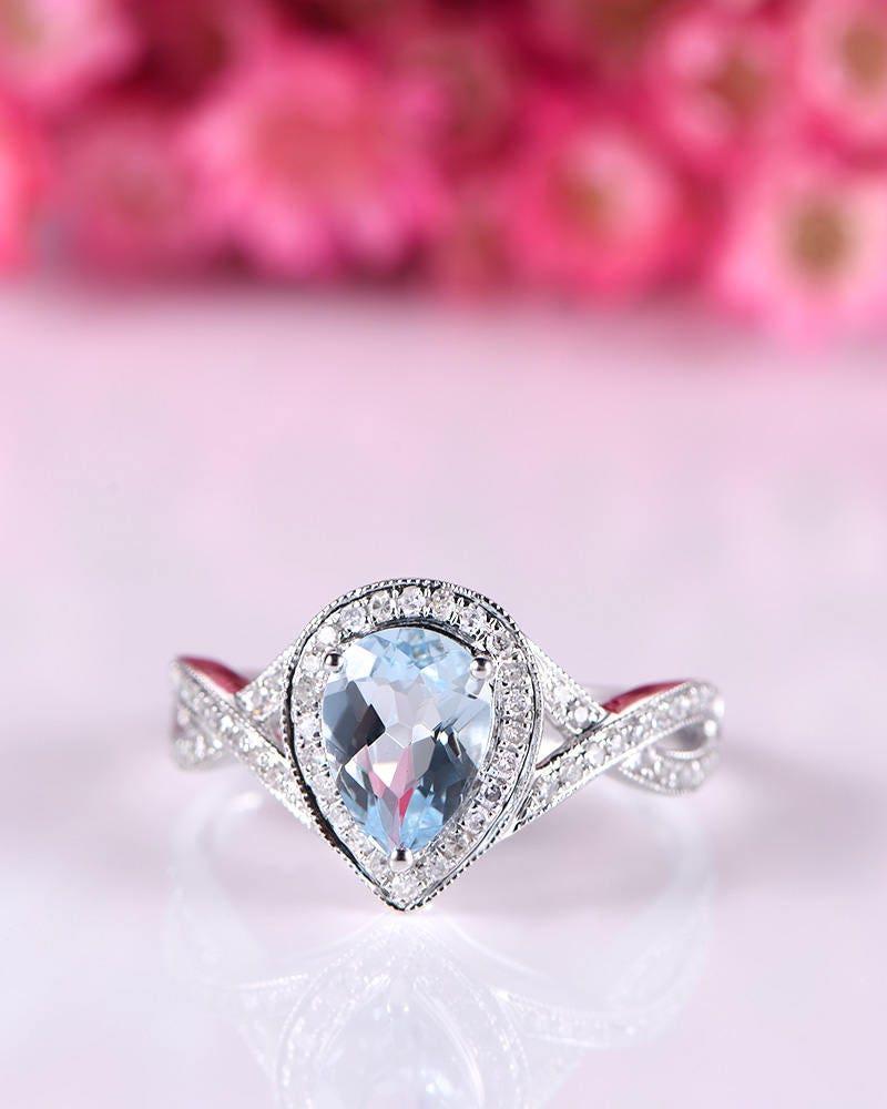 Natural aquamarine ring blue aquamarine engagement ring 5x7mm | Etsy
