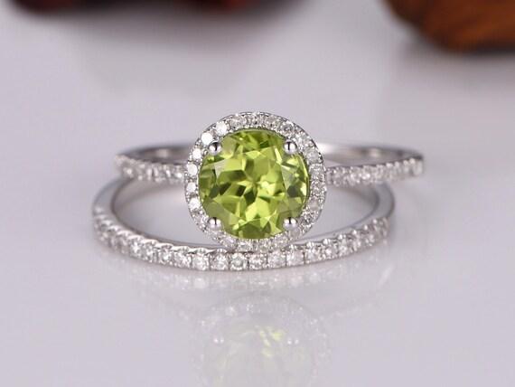 Peridot Ring Set Green Peridot Engagement Ring 7mm Round Cut Etsy