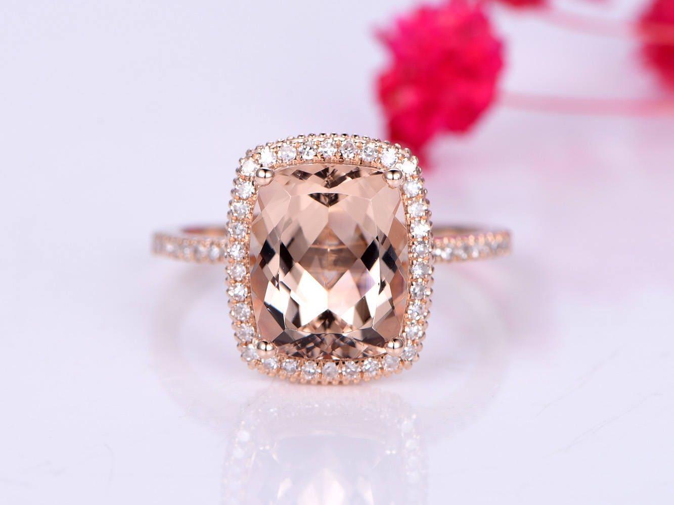 Morganite engagement ring pink morganite ring big cushion | Etsy