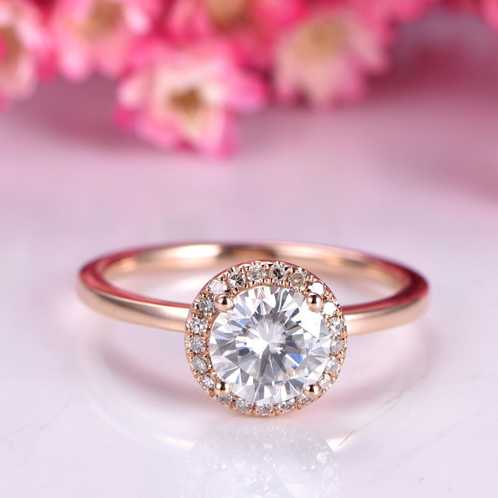 1ct moissanite engagement ring 6.5mm round cut moissanite ring | Etsy