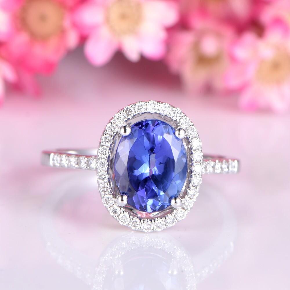 Tanzanite ring 6x8mm oval cut tanzanite engagement ring