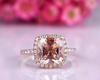 Morganite engagement ring cushion morganite ring 9mm pink gemstone diamond wedding band petite band solid 14k rose gold wedding ring