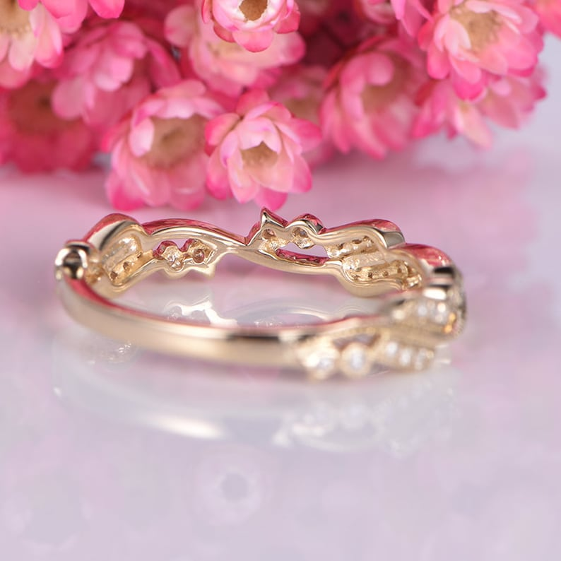 Half eternity floral diamond wedding band 14k yellow gold promise ring natural SI diamonds matching stacking ring anniversary gift