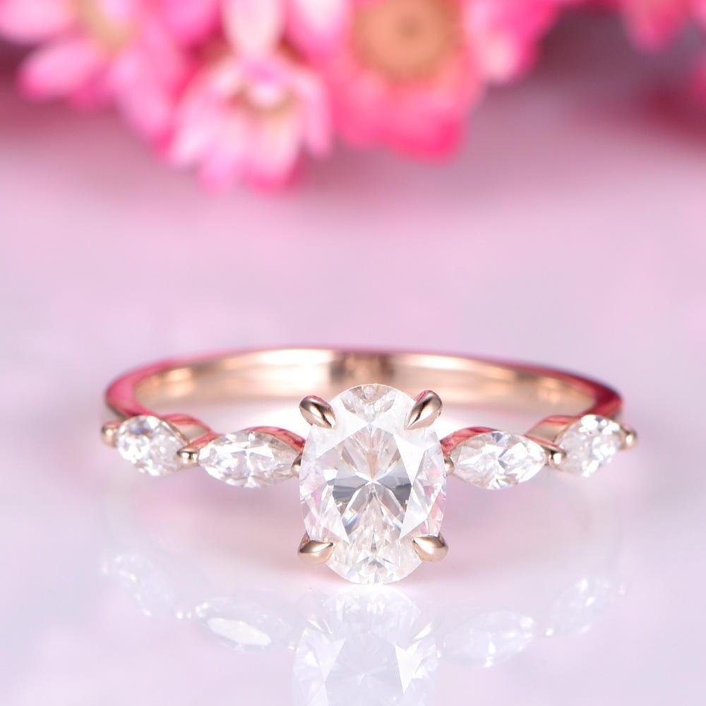 Moissanite engagement ring 5x7mm oval shape moissanite ring | Etsy