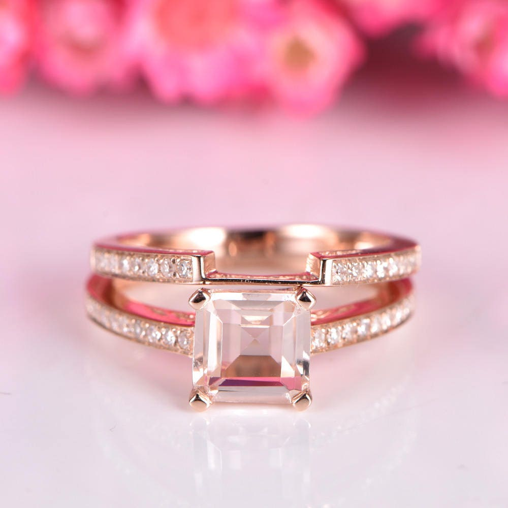 Morganite engagement ring set asscher cut morganite ring