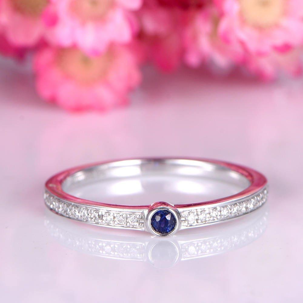 Diamond wedding band blue sapphire ring solid 14k white gold | Etsy