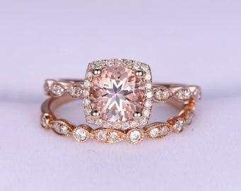 Morganite ring set 7mm round cut morganite engagement ring milgrain diamond ring art deco diamond wedding band bridal ring set 14k rose gold