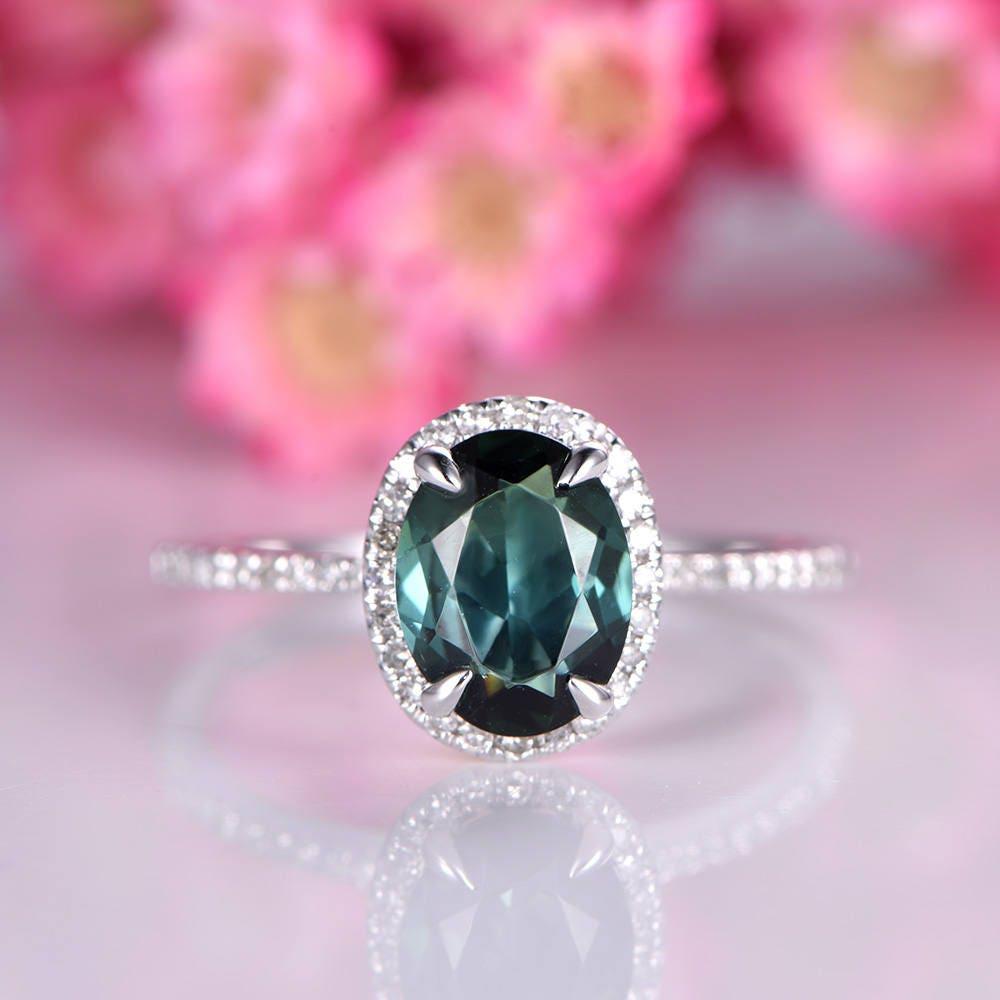 1ct tourmaline ring natural green tourmaline engagement ring | Etsy