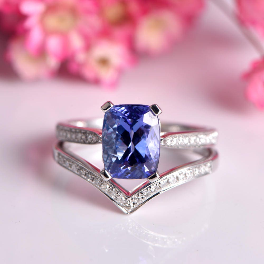 Tanzanite ring set cushion cut tanzanite engagement ring 7x9mm