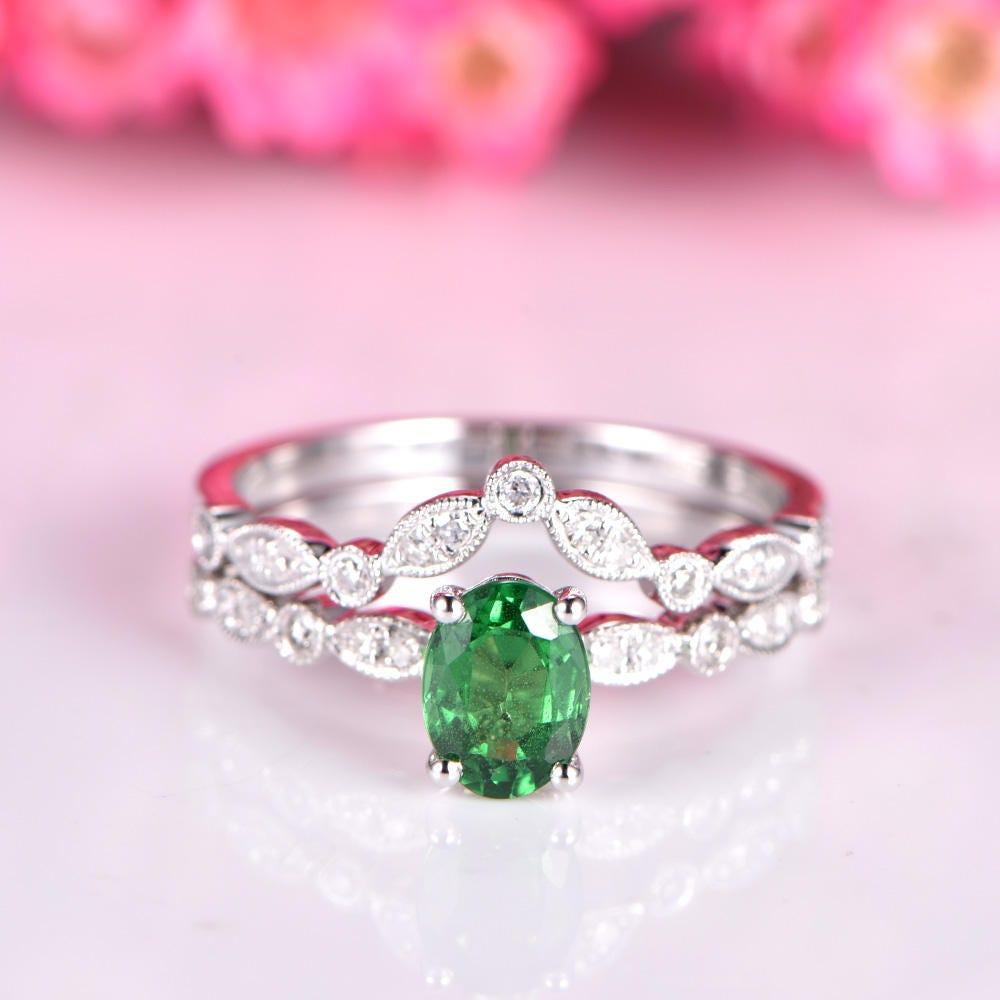 Tsavorite Ring set tsavorite engagement ring half eternity v